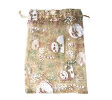 Christmas drawstring golden mesh gift bag