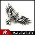 Nueva llegada de la flor de lis 316l cruz de acero inoxidable joyería, de las mujeres de los hombres de alas de ángel colgante de cristal negro