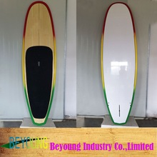 Bamboo veneer + rainbow painting epoxy + fiberglass SUP stand up paddle board