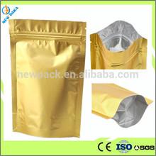 Herbal Tea Stand Up Foil Aluminum Gold Zip Lock Bag 8*13cm