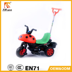 2014 simple design and cheap price kids battery motorcycle with push bar