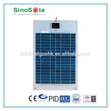 25W semi flexible poly solar panel, with Aluminum frame TPE film