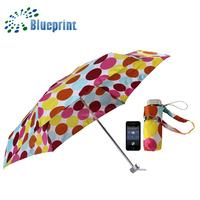 6K Panels Polka Dots Full Print Lady Fashion Light 5 Folding Umbrella