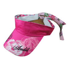 2014 top quality wholesale 100% cotton pink printed kids custom glitter sun visor
