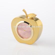 Metal Gold apple table Clock A6051G wall clock animal shape