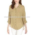 Button front ladies cotton blouses for summer