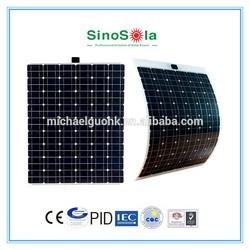 130W semi-flexible mono solar panel, with Aluminum frame TPE film