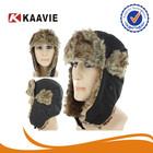 Black Faux Fur Trapper Hat Bomber Ski Winter Cap Aviator Warm Ear Flap Russian