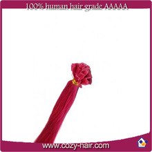 Russia hair 100% human hair keratin i tip/u tip/v tip remy stick tip hair extensions