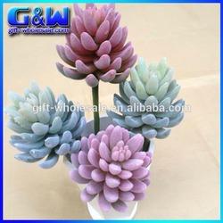 38cm Single Stem Decorative Plant Surface Tufting Artificial Succulent for Flower Arrangement