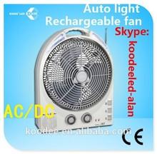 "China golden supplier rechargeable ac / dc fan with AM/FM / 12"" FM desk fan /12"" 20LEDs Rotatable rechargeable fan"