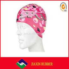 2014 hot selling womens waterproof swim caps/custom printed swimming caps