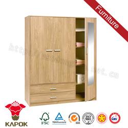 Design veneer 3 door 2 drawer mirrored bedroom wardrobe furniture sale