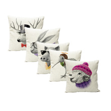 Factory direct personality deer sheep bird bed cotton pillow aliexpress eBay hot cushion cover