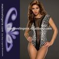 Damen transparent dessous sexy clubwear glänzende pvc legless tiger-print kleid