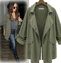 new Advanced customization women Army green frock coat with buttons Casual coat big yards temperament winter jackets