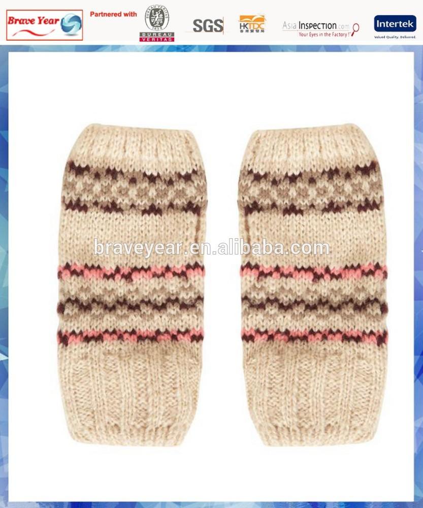 fairisle knitted wool fingerless gloves for ladies