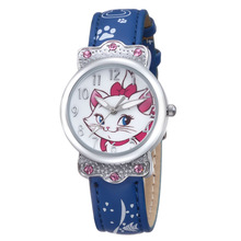 NO 3169 army blue leather band alloy case diamond with mermaid kid watches