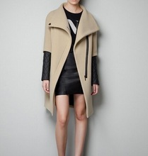 Lapel stitching leather sleeves side zipper placket coat