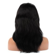 16-inch Brazilian Virgin Human Hair Natural Color Body Wave, In-stock Items Lace Front Wig