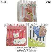 (R118) PLAIN WOODEN PEN STAND