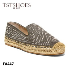 2014 New arrival fashion PU studded casual ladies flat shoes ladies beautiful flat shoes with hemp hope nude ladies flat shoes