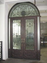 Various design forge wrought iron door with insulated glass for villa