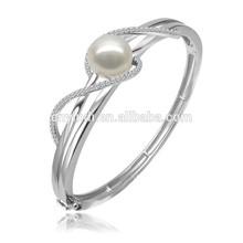 Fashion Silver Plated Diamond Bangles, Imitation Pearl Bangles