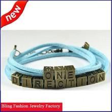 Hot sale One direction Retro personalized colorful bracelets for Men & women fashion jewelry letter bracelets
