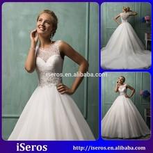 Vintage Applique Backless A Line Lace Long tail wedding dresses 2015 Latest Design dress
