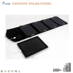 14W folding dual USB portable solar panel flexible waterproof for iphone and ipad