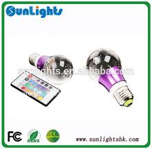 16 Colors Light 24key IR Remote Controller Lamp E27 3W Crystal RGB LED Bulb