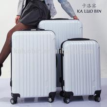 high quality New stylish pc travel beautiful white luggage/teenage trolley/spinner suitcase