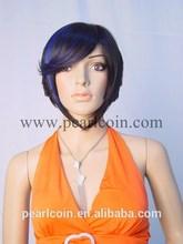 Fashionable Unique 100% Synthetic Kanekalon Toyokalon Japanese Fiber Unbalance Blue Highlight Short Wig
