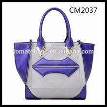 Blue and grey very fashion lip shape design ladies tote bag