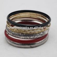 graceful personalized thin metal bangle set
