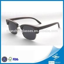 Ebony Wood Smoke Polarized Clubmaster Sunglasses Silver Nose