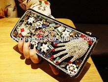 Alibaba Popular Lady Bling Bling Rhinestone Beautiful Snakeskin Brand New Wallet Card Bag