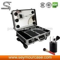 Professional Makeup Trolley Case Makeup Box With Lights Aluminum Makeup Case