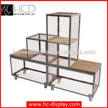 Metal mesh cabinet welded mesh wine collapsible industrial storage crates retail display unit on castors
