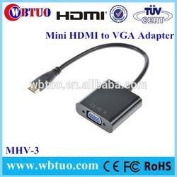 Black and White 1080P Mini HDMI to VGA Adapter 1080P