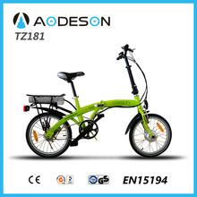 "18""mini folding electric bikeTZ181 with 250W geared hub motor,fornt steel fork, rechargeable e-bike batteries"