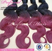attractive top grade dark/purple ombre hair weaves factory price alibaba china
