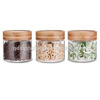 SINOGLASS 3 pcs Bamboo lid round shape borosilicate glass storage jar