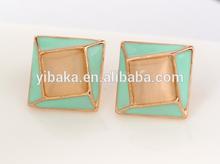 Manufactory wholesale hotsale square garnet rhinestone jewelry, opal stud earrings