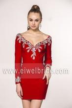 Satin simple design long sleeve v-neck open low back embroidered cocktail dress short red