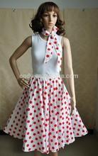 Australia wind design red Polka dot women dance dress with scarves,knee length party wear designer skirts,rockabilly adult dress