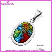 Ijd2186 de acero inoxidable cristal de murano collar, Cristal de murano colgante, Murano de la joyería de piedra