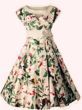 Venta al por mayor Noble mujeres 1950 s de la impresión Floral Rockabilly Vintage columpio vestidos