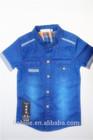 2014 children kid boys 100% cotton fashon short sleeve denim shirt